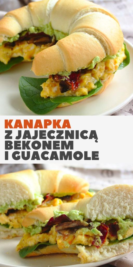 Kanapka śniadaniowa z jajecznicą bekonem i guacamole