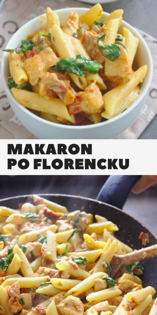 Makaron penne po florencku z kurczakiem szpinakiem i pomidorami suszonymi
