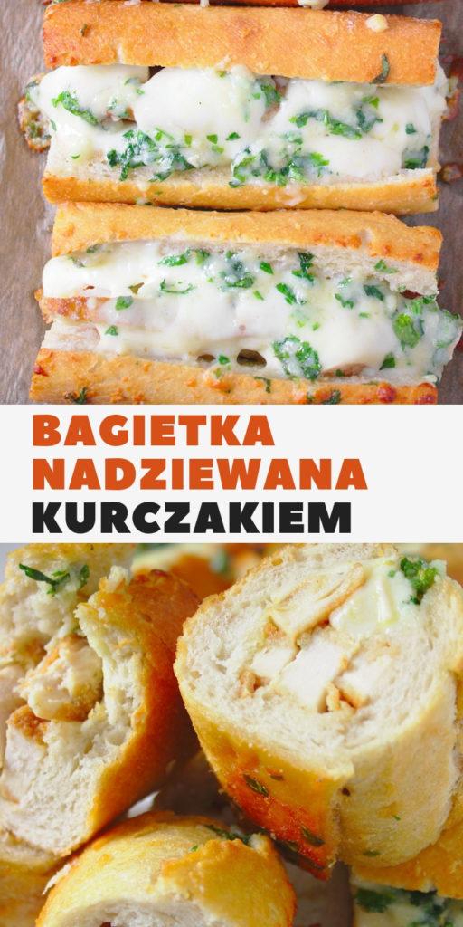 Bagietka czosnkowa nadziewana kurczakiem i serem mozzarella