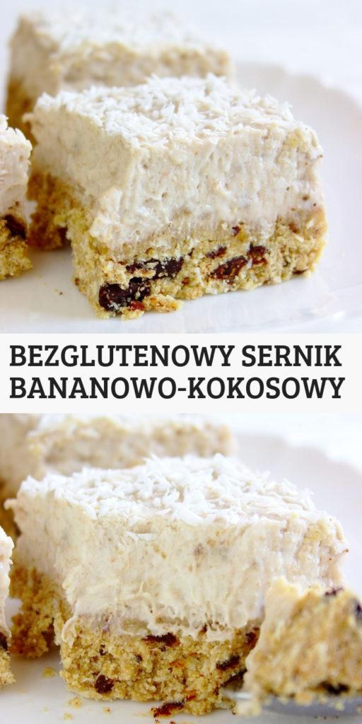 Niskocukrowy bezglutenowy sernik bananowo kokosowy z czekoladą. Szybki i łatwy przepis na pyszne i zdrowe ciasto.