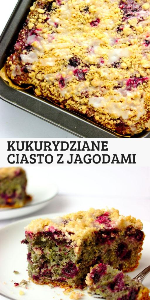 Wilgotne ciasto kukurydziane z jagodami