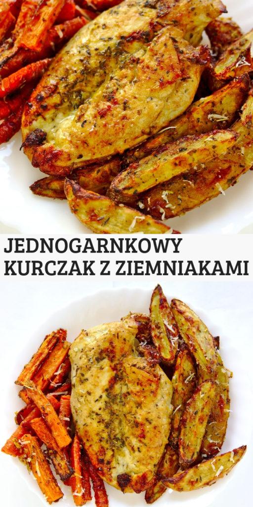 Szybkie i łatwe jednogarnkowe danie. Kurczak w parmezanie z ziemniakami i marchewką z piekarnika.