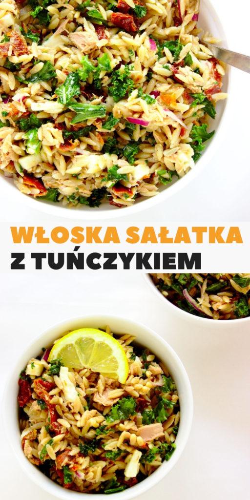 Zdrowa włoska sałatka z tuńczykiem, makaronem orzo i suszonymi pomidorami. Fit przekąska do pracy.