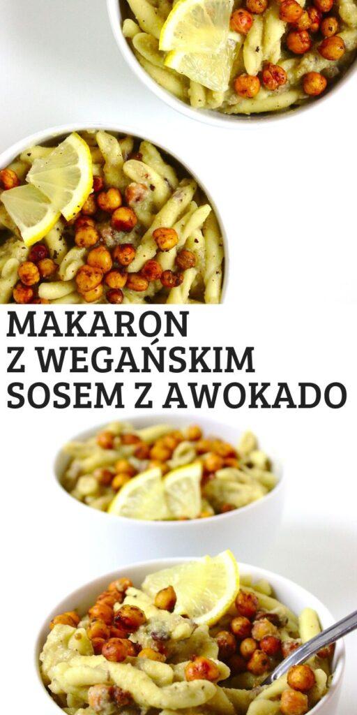 Makaron z pieczoną ciecierzycą i kremowym wegańskim sosem z awokado